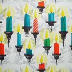 Vintage Hallmark Candles Christmas Wrapping Paper Full Sheet 20 x 28. $3.00, via Etsy.