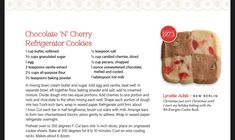 Refrigerator Cookies, Cherry Candy, Unsweetened Chocolate, Granulated Sugar, Pecan, Vanilla, Butter, Baking, Book