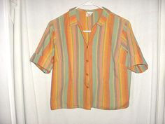 Vintage 60s Ladies Orange and Green Stripe Blouse Short Sleeve 15/16