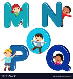 Illustration about Vector illustration of cartoon kids with MNOPQ letters. Illustration of elementary, cartoon, alphabet - 106439462 Alphabet For Kids, Alphabet Crafts, Alphabet Activities, Book Activities, Preschool Activities, Free Vector Images, Vector Free, School Clipart, Letter Vector