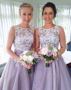 Beautiful A-Line Round Neck Knee-Length Bridesmaid Dress with Lace