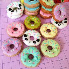 the latest batch of kawaii animal donut plushies for ✂✨ (P. Hope everyone had a fantastic Halloween! Felt Diy, Felt Crafts, Felt Cake, Donut Birthday Parties, Kawaii Crafts, Cute Stuffed Animals, Felt Food, Stuffed Animal Patterns, Felt Ornaments