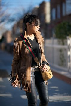 Gucci Lady Web bag, Fringe Suede Jacket