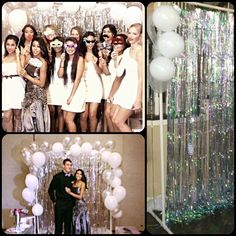 Photo Backdrop using PVC pipe, fringe curtain from Party city and balloons!