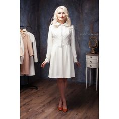 Woman White Wool Winter Coat White Wedding Wool a-Line Coat C-2... (830 CAD) ❤ liked on Polyvore featuring outerwear, coats, black, women's clothing, white wool coat, woolen coat, white coat, white woolen coat y black white coat