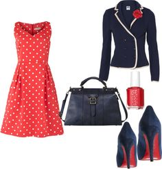 """Polka Dot Office Featuring Fossil Vintage Revival Handbag"" by miscfinds4u on Polyvore #FossilVintageRevival"