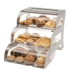 When you want to give patrons a variety, the Large Tiered Steel Bakery Display has you covered. The 3 tiered bakery case displays a number of treats. Bakery Display Case, Bread Display, Pastry Display, Cupcake Display, Display Cases, Display Stands, Display Ideas, Bagel Bin, Food Warmer Display