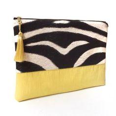 Grande pochette SAVANA, motif zèbre. Coton et lin. Clutch / Handbag: cotton and linen