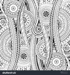 Doodle Background In Vector With Doodles, Flowers And Paisley. Vector Ethnic Pattern Can Be Used For Wallpaper, Pattern Fills, Coloring Books And Pages For Kids And Adults. Black And White. - 325801349 : Shutterstock
