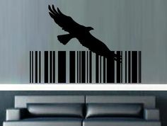 Flying Eagle Bird Barcode Wall Art Sticker Vinyl Decal Various Sizes Wall Sticker, Wall Decals, Sticker Vinyl, African Market, Eagle Bird, Bird Wall Art, Smooth Walls, Beautiful Wall, Car Stickers