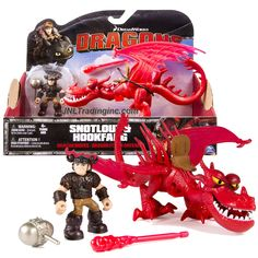 "Dreamworks ""Dragons - Dragon Riders"" Series 8 Inch Long Dragon Figure Set - HOOKFANG with Fire Missile and Snotlout with Battle Mace"