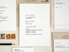 Typewriter Letterpress Wedding Invitation - Hand Printed - Modern Minimal Invite (Sample) $8.00