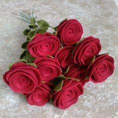 Dozen red roses felt red roses felt flower bouquet by MyrtleMadeIt
