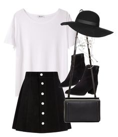 Outfit with an a-line skirt by ferned on Polyvore featuring polyvore, fashion, style, T By Alexander Wang, AG Adriano Goldschmied, Stuart Weitzman, rag & bone, Topshop, Forever 21 and clothing