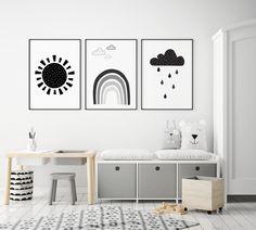 Scandi Nursery Print Set of 3 Sun Rainbow and Cloud Black & White Baby Room Posters Monochrome Gender Neutral Childrens Room Art Monochrome Nursery, White Nursery, Nursery Neutral, Nursery Prints, Nursery Wall Art, Wall Art Prints, Nursery Ideas, Nursery Decor, Room Ideas