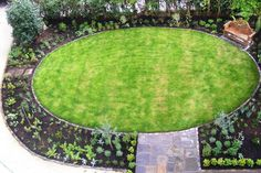 Seen from above: an oval lawn in a town garden we designed in Clifton, Bristol.