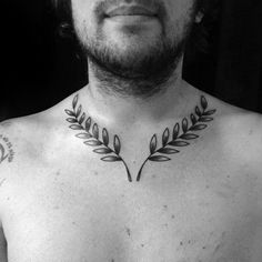 Male Laurel Wreath Tattoo Design Inspiration Traditional Old School Chest