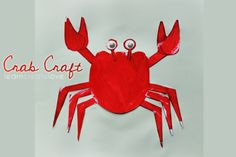 Printable Crab Craft--Print out the printable crab craft sheet (link at the top), and paint all of the pieces (except the eyes) red. Once dry, cut out and assemble as shown above, sticking the ends of the legs under the main body of the craft. Little Mermaid Movies, Little Mermaid Birthday, Preschool Letters, Kindergarten Crafts, Projects For Kids, Crafts For Kids, Art Projects, Sea Animal Crafts, Crab Crafts