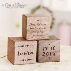 Personalisierte Holzwürfel zur Geburt oder Taufe I Holzgravur