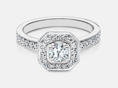 Alexandra, Diamond Engagement ring set in white gold, by Naledi Bridal Collection and Designs