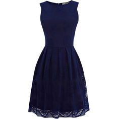 Oasis Lace Cutaway Dress, Dark Blue (105 BRL) ❤ liked on Polyvore featuring dresses, vestidos, short dresses, blue, blue prom dresses, blue cocktail dress, short lace dress, cocktail prom dress and short blue dresses