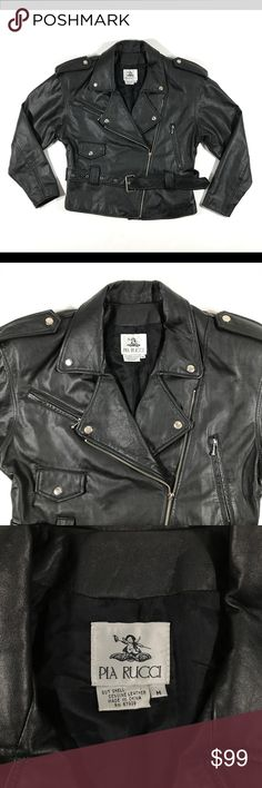 """Vintage Black Leather Motorcycle Jacket Pia Rucci Women's Vintage Black Leather Motorcycle Jacket by Pia Rucci Size Medium  Measurements Approx (Lying Flat) Labeled: Medium Armpit to Armpit: 21"""" Shoulder to Shoulder: 20.5""""  Sleeve: 21.5"""" Length: 23""""  Condition: Good vintage condition. Missing the zipper pull on the front zipper. See last photo for close up.     If you have any questions, don't hesitate to contact me! Vintage Jackets & Coats"""