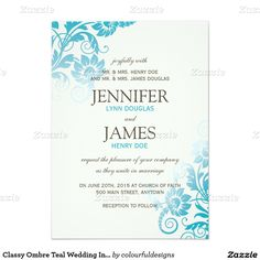 Classy Ombre Teal Wedding Invitations