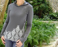 s m l xl   Lacy Pullover Hoodie in Gray by ellembee on Etsy, $37.00