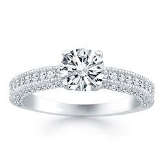 14K White Gold Diamond Micropave Milgrain Engagement Ring