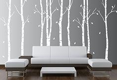 "Birch Tree Wall Decal Nursery Forest Vinyl Sticker Removable Animals Branches Art Stencil Leaves (9 Trees) #1263 (Matte White, 96"" (8ft) Tall) Innovative Stencils http://www.amazon.com/dp/B00Y3FXFZA/ref=cm_sw_r_pi_dp_Opgiwb1YQSJ39"
