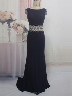 Trumpet/Mermaid Scoop Neck Silk-like Satin Sweep Train with Beading Prom Dresses