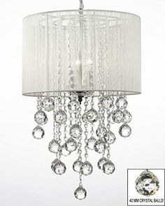 """Crystal Chandelier W/ Large White Shade & Crystal Balls H24"""" W15"""" - Dressed With High Quality Diamond Cut Crystal! - G7-B59/B6/White/3/604/3"""