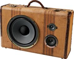 A mash-up of vintage luggage and modern stereo speakers