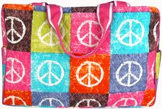 $7.50 SALE! Quilted Peace Out Diaper Bag with Hot Pink Trim