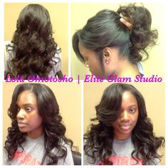 1/2 sew-in or partial sewin weave #extensions by Lola Omotosho of Elite Glam Studio www.eliteglamstudio.com or styleseat/lolaomotosho Beautiful Hairstyles, Natural Hairstyles, Weave Hairstyles, Full Weave, Sew In Weave, Partial Sew In, Weave Extensions, Hair Salons, Synthetic Lace Front Wigs