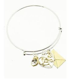 Heart Bangle Love Letter Bracelet from MK Selections. This bangle features three different charms including an envelope, a heart and a gem stone. #scottsmarketplace