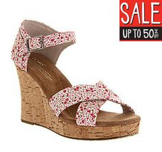 UP T0 50% OFF  Toms Strappy wedge ditsy floral berry exclusive