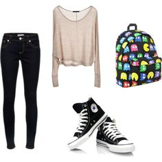 Look perfetto per scuola! by fra-tomlinsoff on Polyvore featuring polyvore, fashion, style, Brandy Melville, RED Valentino and clothing