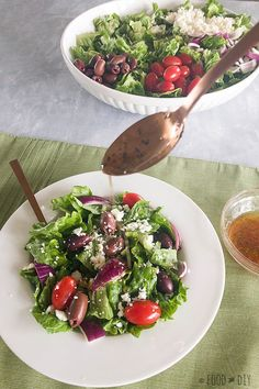 This Simple Greek Salad with Homemade Vinaigrette is absolutely delicious and perfect for lunch or, add some grilled chicken for a healthy dinner! | #salad | #recipe | #healthy | #lunch