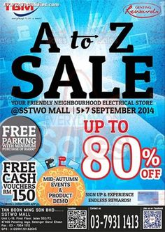 5-7 Sep 2014: TBM Malaysia A to Z Home Appliances Clearance Sale at SSTwo Mall