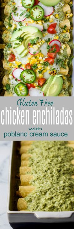 These Chicken Enchiladas Smothered In A Poblano Cream Sauce Will Quickly Become A Family Favorite. In case You're Looking For A Flavorful Recipe These Chicken Enchiladas Are It - They're The Ultimate Healthy Taco Tuesday Meal Via Jheats Carnitas, Barbacoa, Carne Asada, Brisket, Tamales, Quesadillas, Churros, Burritos, Chorizo
