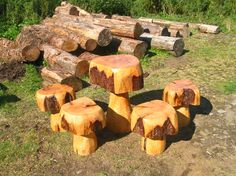 Carved Furniture - Wood Actually. Met at the Blenheim Flower Show - can do table and chairs in kids size.
