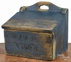 Description: Scandinavian painted pine salt box, c. Wall Cupboards, Spice Containers, Salt Box, Wall Boxes, Old Wall, Retro 1, Primitive Decor, 4 H, Pewter