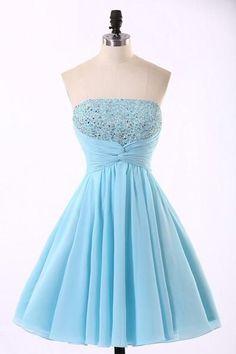 Cheap Chiffon Light Blue Cute homecoming prom dresses, CM0018