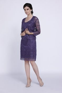 Mother can look elegant in a knee-length dress from Nox. Available in violet, royal, tan, burgundy and peach.