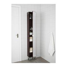 LILLÅNGEN High cabinet with mirror door, black-brown black-brown black-brown 11 3/4x8 1/4x70 1/2
