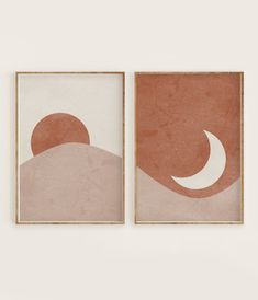 Sun and Moon Print Set of Abstract Landscape, Terracotta Printable Mid Centur. - Sun and Moon Print Set of Abstract Landscape, Terracotta Printable Mid Century Modern Minimal Wa - Inspiration Art, Art Inspo, Journal Inspiration, Diy Wall Art, Diy Art, Wall Art Bedroom, Simple Wall Art, Wall Art Boho, Wall Art Decor