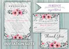PRINTED or PRINTABLE Wedding Invitation Suite -Floral Wedding Invitation Package - Sweet Anemone - Shabby Chic - Watercolor Wedding Invites by PeridotImpressions on Etsy