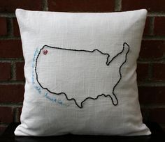 Embroidered Pillow Cover - Home Is Where The Heart Is - Hand-Embroidered Pillows on Linen. $49.00, via Etsy.