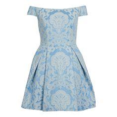 TOPSHOP Petite Debutant Shoulder Dress ($140) ❤ liked on Polyvore featuring dresses, vestidos, short dresses, blue, petite, blue cotton dress, petite short dresses, cotton dress, blue dress and cotton mini dress